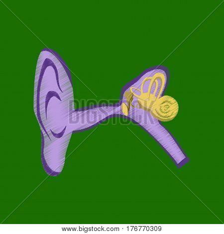 flat shading style icon human ear medical