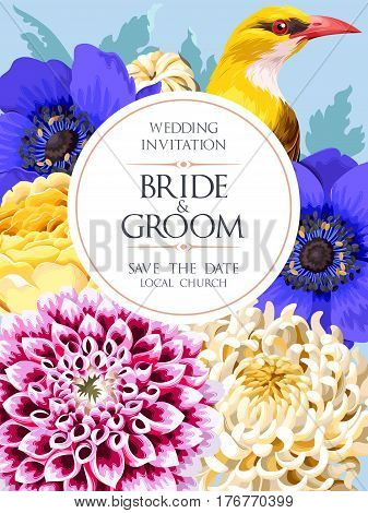 Vector wedding invitation with high detailed flowers and yellow bird