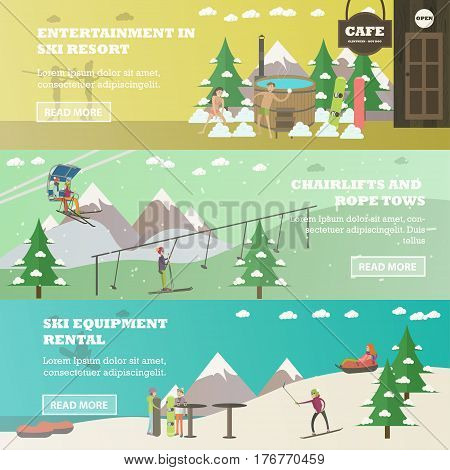 Vector set of winter fun horizontal banners. Entertainment in ski resort, Chairlifts and rope tows, Ski equipment rental flat style design elements.