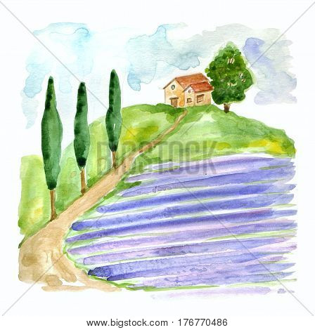 Watercolor illustration with Tuscan landscape with lavender field and house in Europa . Old farm with country house, garden, road and cypress