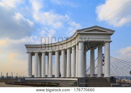 Colonnade near vorontsov palace in Odessa Ukraine