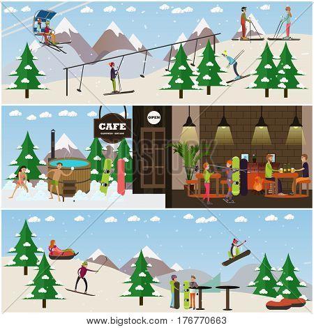 Vector set of winter fun posters, banners. People enjoying snowboarding, tubing, skiing, vat, mountain cafe. Ski resort flat style design elements.