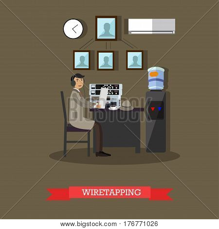 Vector illustration of detective working at office using headphones and device for wiretapping. Flat style design element.