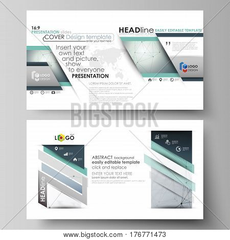 Business templates in HD format for presentation slides. Easy editable abstract vector layouts in flat design. Genetic and chemical compounds. Atom, DNA and neurons. Medicine, chemistry, science or technology concept. Geometric background.