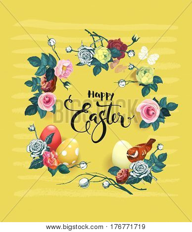 Happy Easter hand lettering surrounded by beautiful flowers, painted eggs and cute bird against yellow background with horizontal stripes. Vector illustration for greeting card, party, invitation.