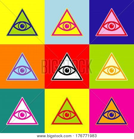 All seeing eye pyramid symbol. Freemason and spiritual. Vector. Pop-art style colorful icons set with 3 colors.