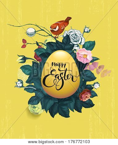 Happy Easter written on golden egg, bush of roses and small red birdie sitting on top of it against grungy yellow background. Festive greeting card. Vector illustration for banner, poster, flyer.