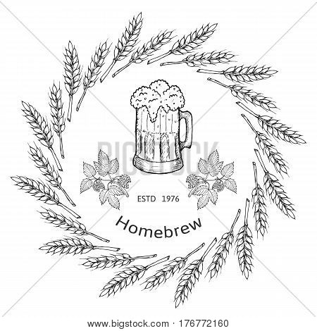 Beer and brewery emblems with barley, design elements