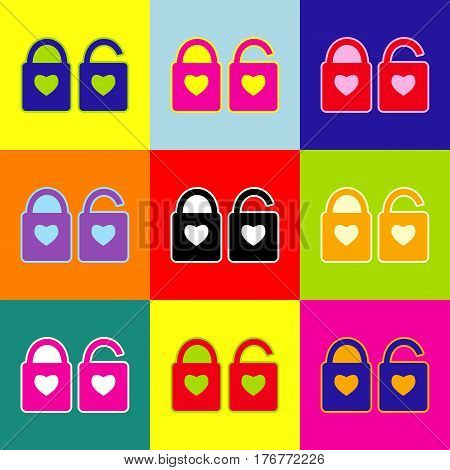lock sign with heart shape. A simple silhouette of the lock. Shape of a heart. Vector. Pop-art style colorful icons set with 3 colors.