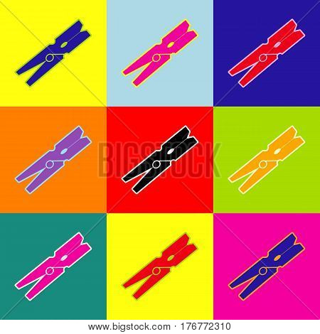 Clothes peg sign. Vector. Pop-art style colorful icons set with 3 colors.