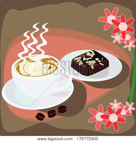 Cappuccino coffee and sweet chocolate brownies cake. A cup of latte, cappuccino or espresso coffee with milk put on a table with dark roasting coffee beans. Drawing the foam milk on top.