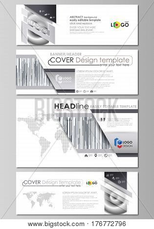 Social media and email headers set, modern banners. Business templates. Easy editable abstract design template, vector layouts in popular sizes. Simple monochrome geometric pattern. Minimalistic background. Gray color shapes.