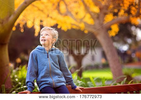 cute smiling boy being playful and positive in autumn park