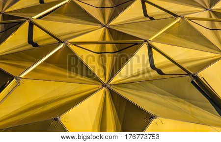 Modern Concave Shaped Gold Geometric Metal Architecture
