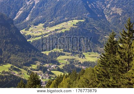 Val Gardena and Ortisei, Dolomites, Italy, view from a mountain