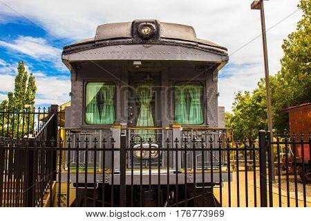 Rear of Railroad Passenger Car On Display