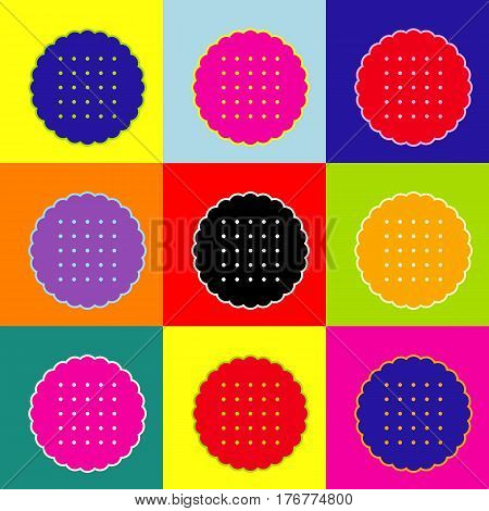 Round biscuit sign. Vector. Pop-art style colorful icons set with 3 colors.