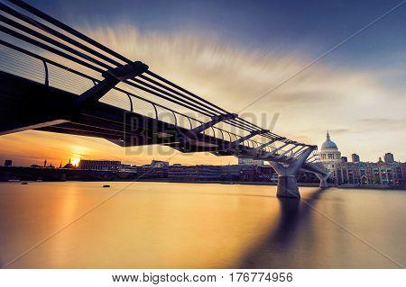 beautiful view of london millennium bridge in UK