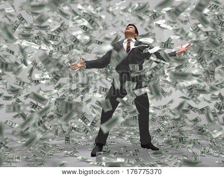 man under the money rain, 3d illustration