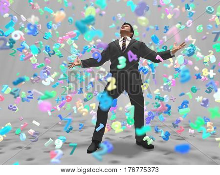 businessman in a data storm, 3d illustration