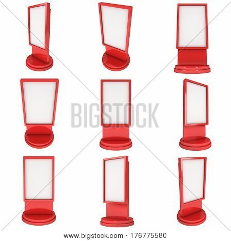 LCD Screen Stand Set. Red Trade Show Booth. 3d render of lcd screen isolated on white background. High Resolution. Ad template for your expo design.