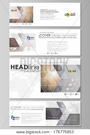 The minimalistic vector illustration of the editable layout of social media, email headers, banner design templates in popular formats. Global network connections, technology background with world map.
