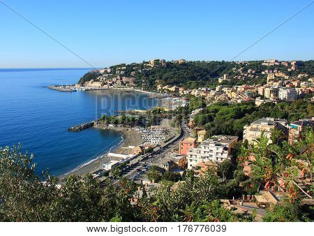 daytime landscape and the village of Arenzano in the Liguria coast about ten kilometers from Genoa