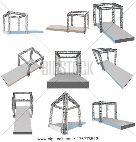 Steel truss girder rooftop construction with outdoor festival stage set. 3d render podium isolated on white.