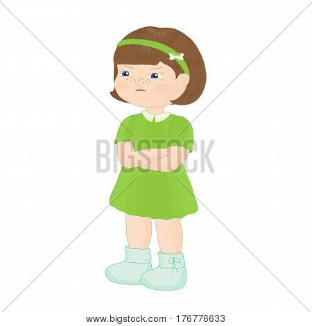 Dissatisfied little girl in a green dress. Vector illustration.