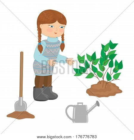 A little girl is planting a bush. Vector illustration.