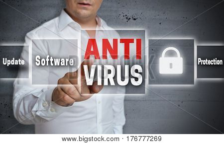 Antivirus Concept Background Is Shown By Man