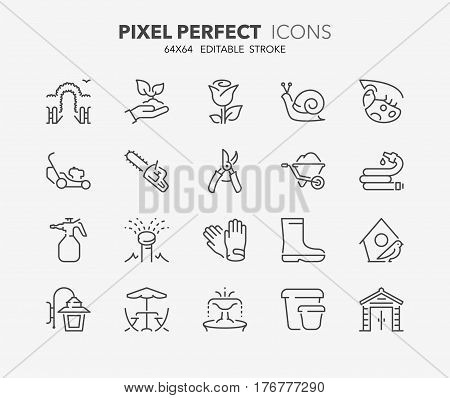 Set of gardening and seeding activities thin line icons. Contains icons as garden sprinkler irrigation outdoor lighting garden shed tools and more. Editable vector stroke. 64x64 Pixel Perfect.