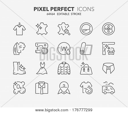 Set of laundry services thin line icons. Contains icons as dry cleaning clothing repairs furnitures and curtains cleaning business service ozonation and more. Editable vector stroke. 64x64 Pixel Perfect.
