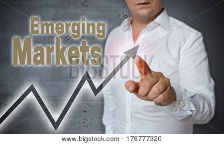 Emerging Markets Touchscreen Is Operated By Trader
