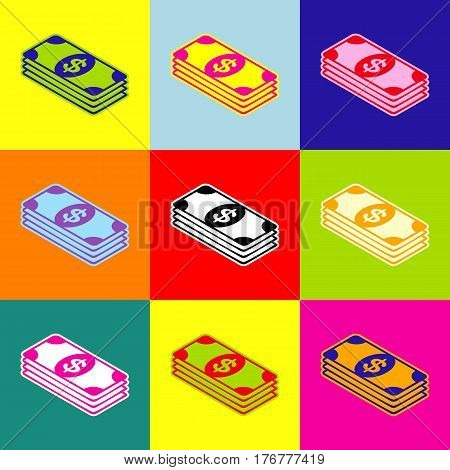 Bank Note dollar sign. Vector. Pop-art style colorful icons set with 3 colors.