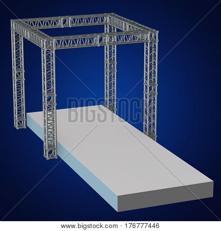 Steel truss girder rooftop construction with outdoor festival stage. 3d render podium on blue