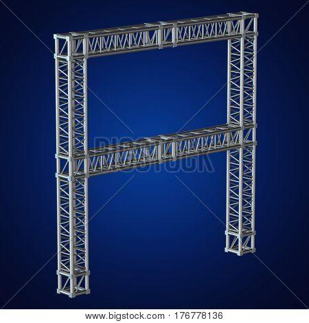 Steel truss girder element banner construction. 3d render isolated on blue