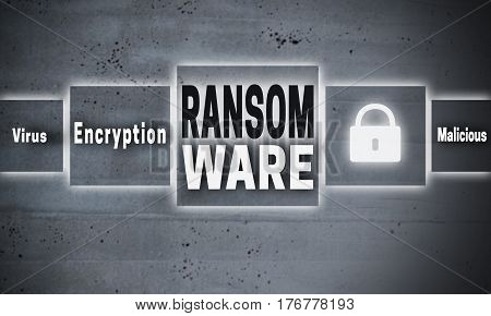 Ransomware virus touchscreen concept background cement picture