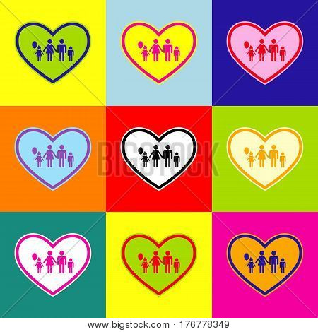 Family sign illustration in heart shape. Vector. Pop-art style colorful icons set with 3 colors.