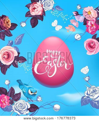 Pink Easter egg surrounded by buds of beautiful half-painted flowers, pretty bird and butterflies against blue sky on background. Vector illustration for festive greeting card, holiday party flyer.