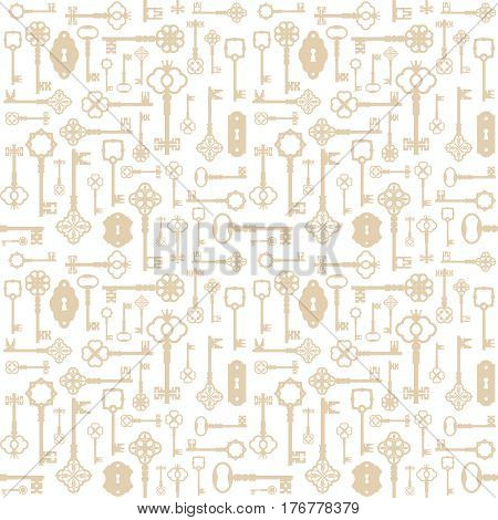 Vintage keys seamless pattern background. For print and web. Gold.