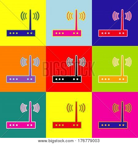 Wifi modem sign. Vector. Pop-art style colorful icons set with 3 colors.