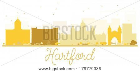 Hartford City skyline golden silhouette. Simple flat concept for tourism presentation, banner, placard or web site. Business travel concept. Cityscape with landmarks.
