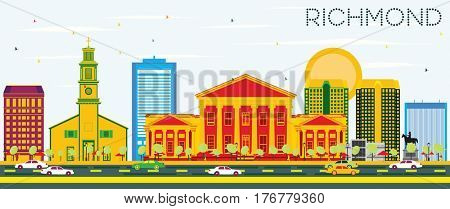 Richmond Skyline with Color Buildings and Blue Sky. Business Travel and Tourism Concept with Historic Architecture. Image for Presentation Banner Placard and Web Site.