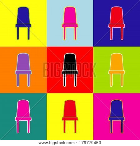 Office chair sign. Vector. Pop-art style colorful icons set with 3 colors.