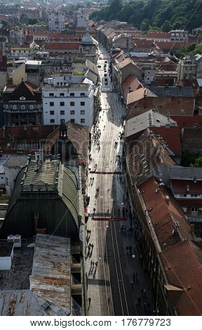 ZAGREB, CROATIA - MAY 31: Panoramic view of the Ilica street from skyscraper