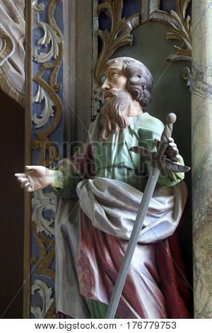 PISAROVINSKA JAMNICA, CROATIA - AUGUST 21: Saint Paul statue at the altar in the Parish Church of Saint Martin in Pisarovinska Jamnica, Croatia on August 21, 2011.