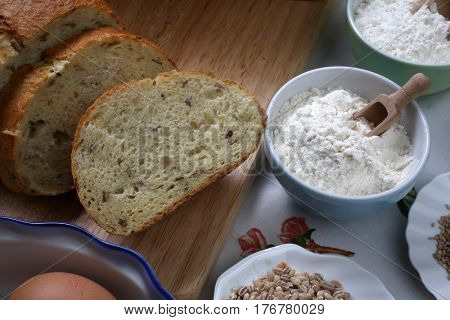 ZAGREB, CROATIA - SEPTEMBER 20: Ingredients for whole grain healthy bread, whole wheat flour, wheat germ and eggs , Zagreb, Croatia on September 20, 2016.
