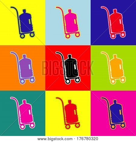 Plastic bottle silhouette with water. Big bottle of water on track. Vector. Pop-art style colorful icons set with 3 colors.