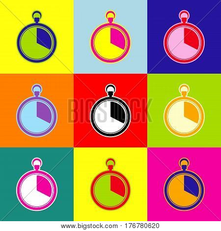 The 20 seconds, minutes stopwatch sign. Vector. Pop-art style colorful icons set with 3 colors.